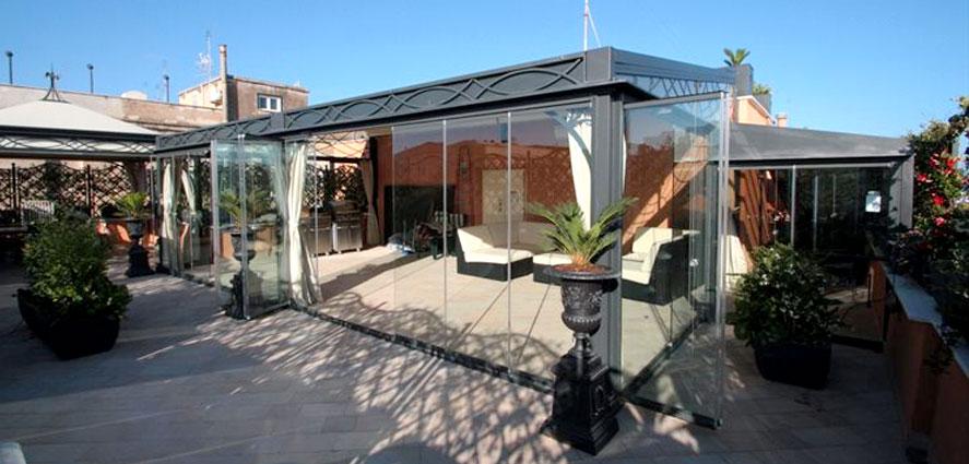 Soluzione pareti a vetri pieghevoli per dehor